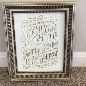 """I give you my vow"" picture and frame"